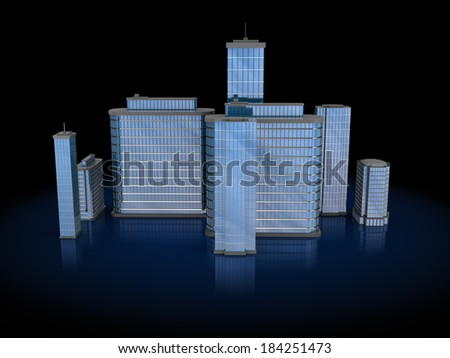 3d illustration of city buildings over black background - stock photo
