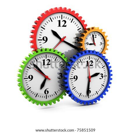 3d illustration of clocks gear wheels, over white background - stock photo