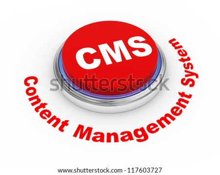3d illustration of cms (content management system) button - stock photo