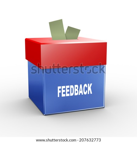 3d illustration of collection box of feedback - stock photo