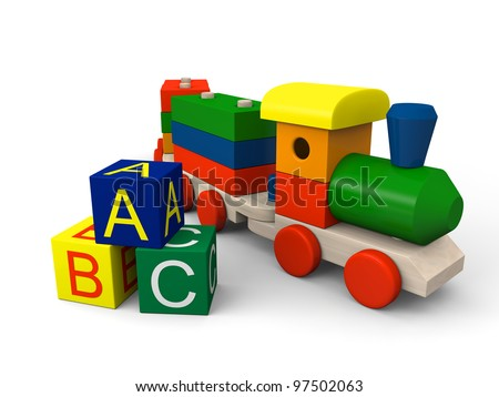 3D illustration of colorful wooden toy train and blocks with letters of alphabet - stock photo