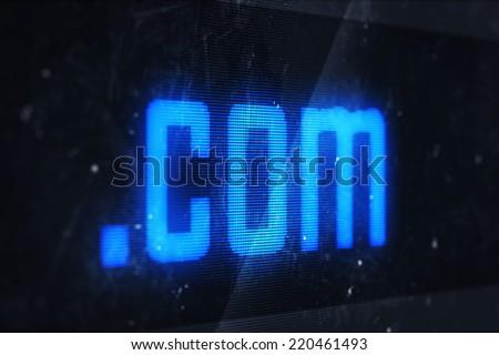 3d illustration of com domain names and internet concept digital screen  - stock photo