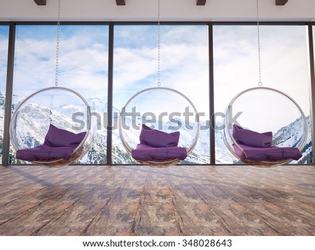 3d illustration of comfortable interior with three bubble chairs - stock photo
