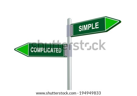 3d illustration of complicated and simple road sign - stock photo
