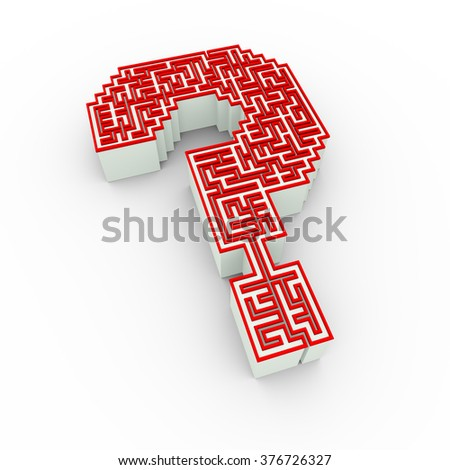 3d illustration of complicated question mark shape maze labyrinth design - stock photo