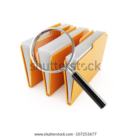 3d illustration of computer folders with magnifier glass - stock photo