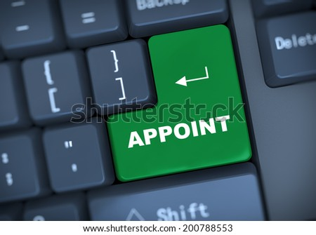 3d illustration of computer keyboard enter button with text appoint  - stock photo