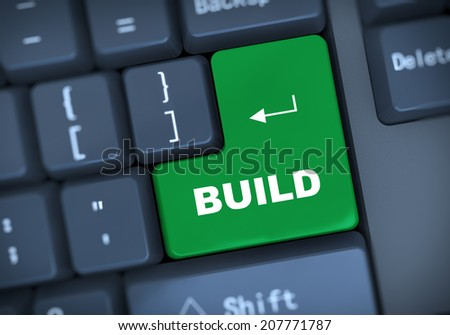 3d illustration of computer keyboard enter button with text build - stock photo
