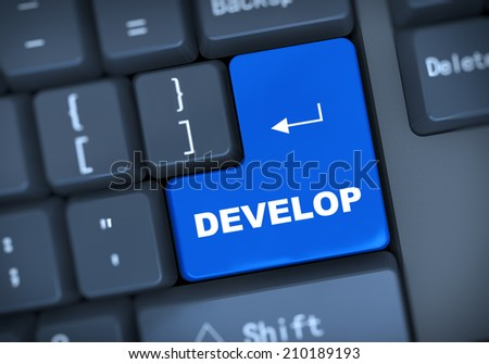 3d illustration of computer keyboard enter button with word develop - stock photo