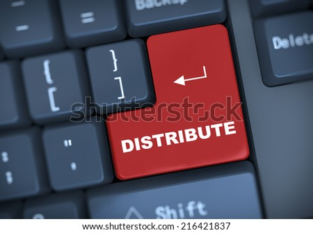 3d illustration of computer keyboard enter button with word distribute - stock photo