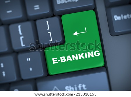 3d illustration of computer keyboard enter button with word e-banking - stock photo