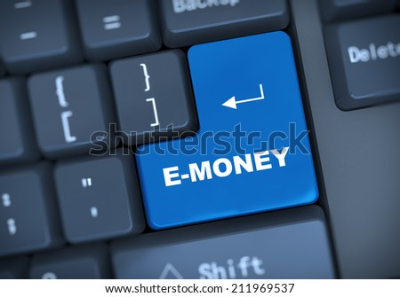 3d illustration of computer keyboard enter button with word e-money - stock photo
