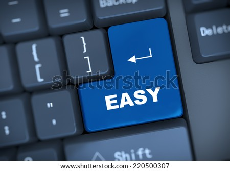 3d illustration of computer keyboard enter button with word easy - stock photo