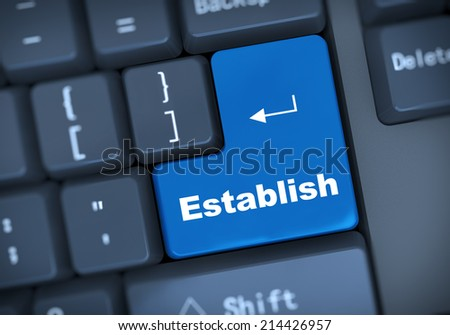 3d illustration of computer keyboard enter button with word establish - stock photo