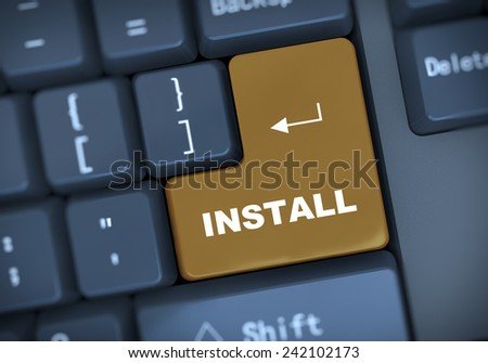 3d illustration of computer keyboard enter button with word install - stock photo