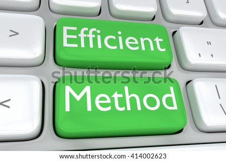 "3D illustration of computer keyboard with the print ""Efficient Method"" on two adjacent green buttons. Methodology concept. - stock photo"