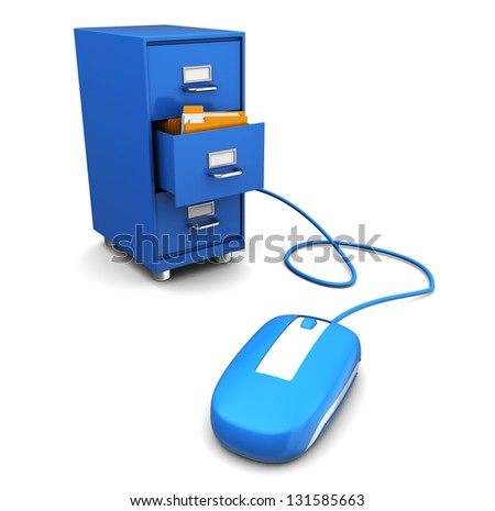 3d illustration of computer mouse connected to cabinet - stock photo