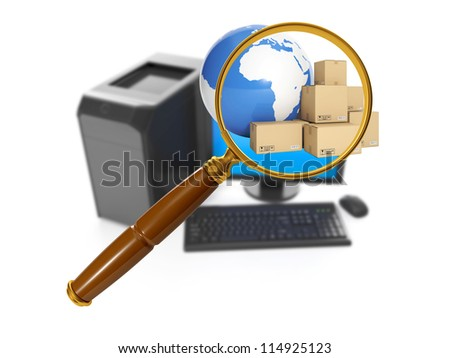 3d illustration of computer technologies. Computer and search for the product in the internet, buying in bulk - stock photo
