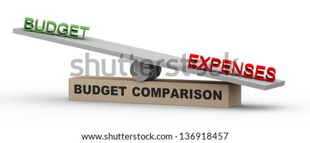3d illustration of concept of comparison of budget and expenses. Word expenses is heavier against budget on balance scale - stock photo