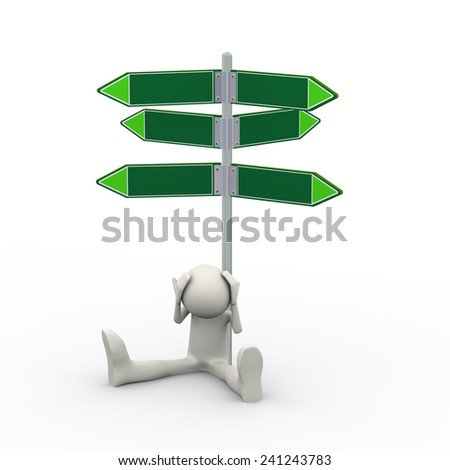 3d illustration of confused man sitting under empty various directional road signs pill. 3d human person character and white people - stock photo