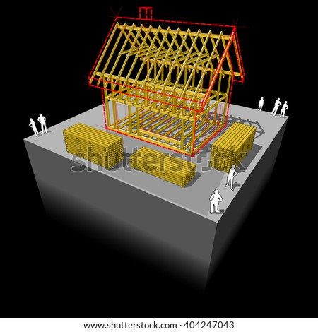 3d illustration of Construction of simple detached house with wooden framework construction - stock photo