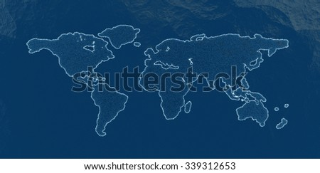 3d illustration of continents of the globe in the form of a circuit surrounded by water. - stock photo