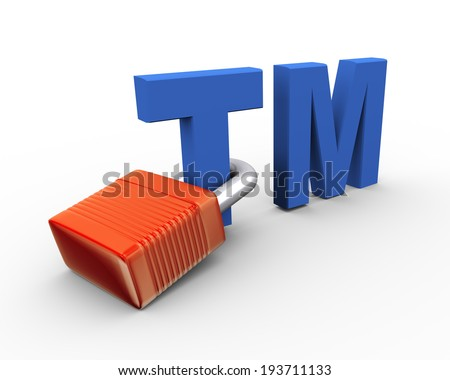 3d illustration of copyright trademark tm attached to padlock - stock photo