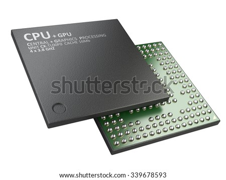 3d illustration of cpu chip central processor unit isolated on white background - stock photo