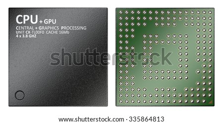 3d illustration of cpu chip central processor unit, top view isolated on white background - stock photo