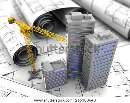 3d illustration of crane and blueprints, city construction concept - stock photo