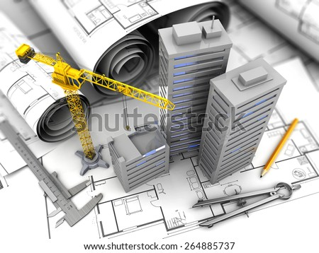 3d illustration of crane, blueprints and drawing tools, city construction concept - stock photo