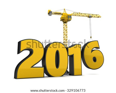 3d illustration of crane building 2016 year sign - stock photo