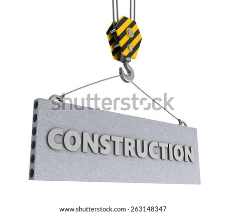 3d illustration of crane hook and plate with sign construction on it - stock photo