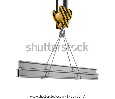3d illustration of crane hook with girderas isolated on white background - stock photo