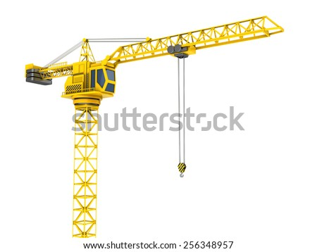 3d illustration of crane tower isolated over white - stock photo