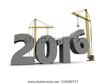 3d illustration of cranes building 2016 year sign, over white background - stock photo