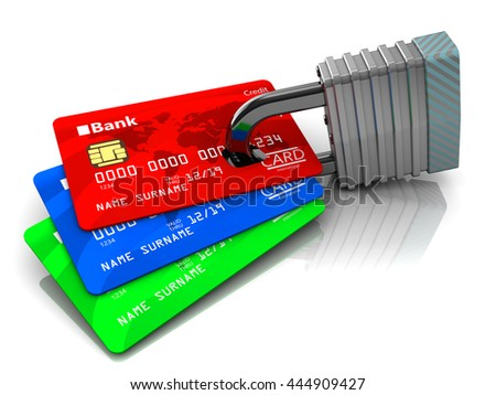 3d illustration of credit cards and lock - stock photo