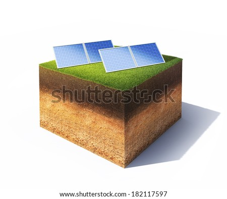 3d illustration of cross section of ground with solar panels isolated on white - stock photo