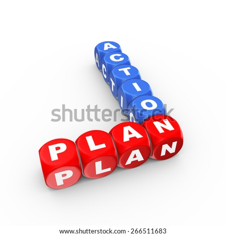 3d illustration of crossword action plan - stock photo