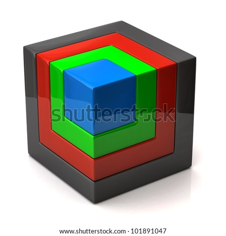 3d illustration of cube - stock photo