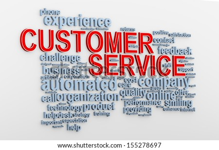 3d Illustration of customer service words tags - stock photo