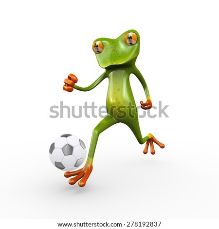 3d illustration of cute funny frog running and kicking football soccer ball - stock photo