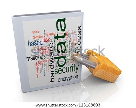 3d illustration of data wordcloud book protected with padlock. Concept data protection and security. - stock photo