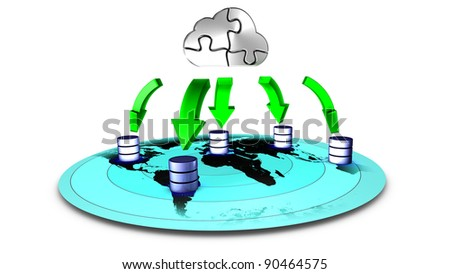 3d Illustration of database Cloud backup - stock photo