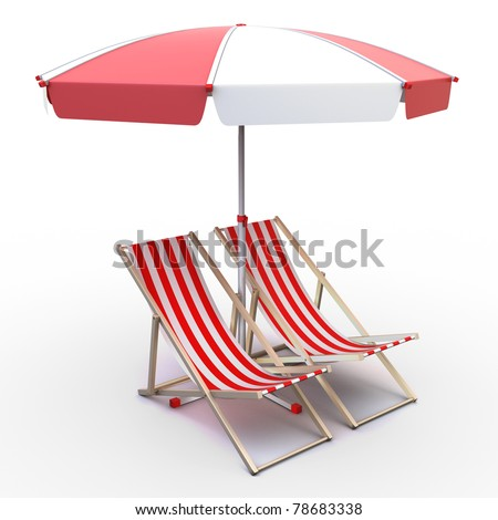 3d illustration of deck chairs with umbrella - stock photo