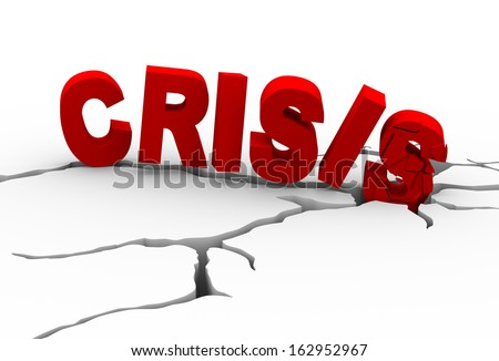 3d illustration of  destroyed word crisis and detailed earth ground crack - stock photo