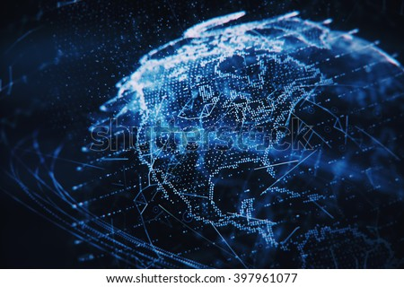 3d illustration of detailed virtual planet Earth. Shallow DOF - stock photo