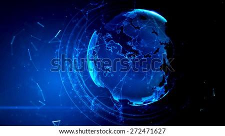 3d illustration of detailed virtual planet Earth. Technological digital globe world - stock photo