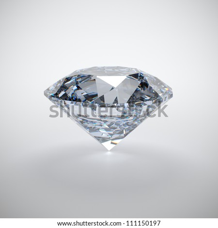 3D illustration of diamond isolated on white background - stock photo