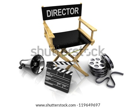 3d illustration of director chair, and over filmmaker equipment, over white background - stock photo